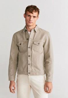 Куртка джинсовая, Mango Man, цвет: бежевый. Артикул: HE002EMIRKJ0. Одежда / Верхняя одежда / Джинсовые куртки