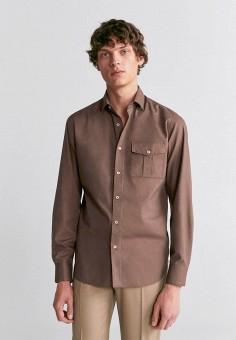 Рубашка, Mango Man, цвет: коричневый. Артикул: HE002EMIRKR0.