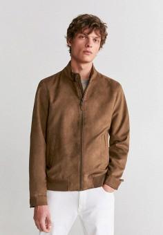 Куртка, Mango Man, цвет: коричневый. Артикул: HE002EMIRKS8. Одежда / Верхняя одежда / Легкие куртки и ветровки