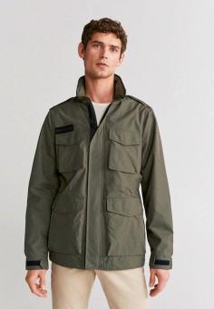 Куртка, Mango Man, цвет: хаки. Артикул: HE002EMIRKT9. Одежда / Верхняя одежда / Легкие куртки и ветровки