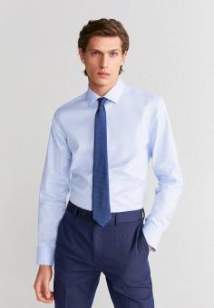 Рубашка, Mango Man, цвет: голубой. Артикул: HE002EMIRLB1. Одежда / Рубашки / Рубашки с длинным рукавом