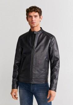 Куртка кожаная, Mango Man, цвет: синий. Артикул: HE002EMIRLC8. Одежда / Верхняя одежда / Кожаные куртки