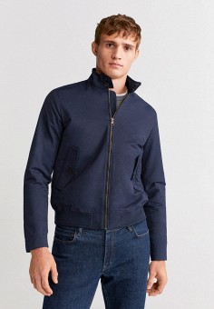 Куртка, Mango Man, цвет: синий. Артикул: HE002EMIRLO2. Одежда / Верхняя одежда / Легкие куртки и ветровки