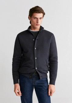 Кардиган, Mango Man, цвет: серый. Артикул: HE002EMIRMC5. Одежда / Джемперы, свитеры и кардиганы / Кардиганы