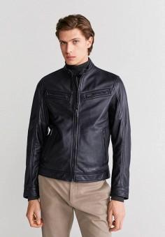 Куртка кожаная, Mango Man, цвет: черный. Артикул: HE002EMIRMD3.