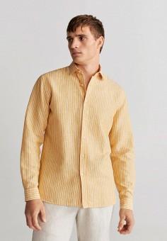 Рубашка, Mango Man, цвет: желтый. Артикул: HE002EMIUWO2. Одежда / Рубашки / Рубашки с длинным рукавом