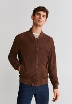 Куртка кожаная, Mango Man, цвет: коричневый. Артикул: HE002EMIUWV7.