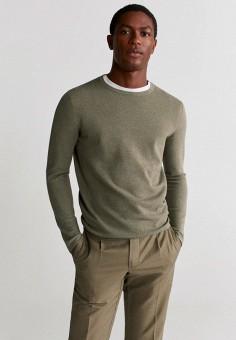 Джемпер, Mango Man, цвет: зеленый. Артикул: HE002EMIUXC1. Одежда / Джемперы, свитеры и кардиганы / Джемперы и пуловеры