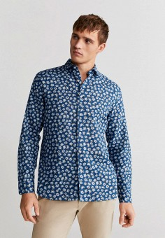 Рубашка, Mango Man, цвет: синий. Артикул: HE002EMIUXO9.
