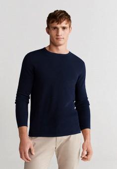 Джемпер, Mango Man, цвет: синий. Артикул: HE002EMIUXQ6. Одежда / Джемперы, свитеры и кардиганы / Джемперы и пуловеры
