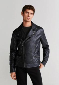 Куртка кожаная, Mango Man, цвет: черный. Артикул: HE002EMIUYI7.