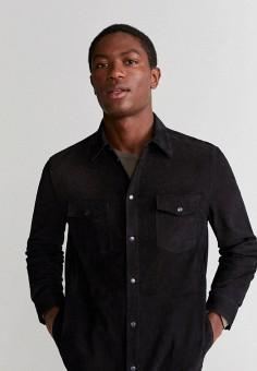 Куртка кожаная, Mango Man, цвет: черный. Артикул: HE002EMIUYJ3.