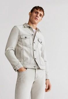 Куртка джинсовая, Mango Man, цвет: белый. Артикул: HE002EMIUYU6. Одежда / Верхняя одежда / Джинсовые куртки