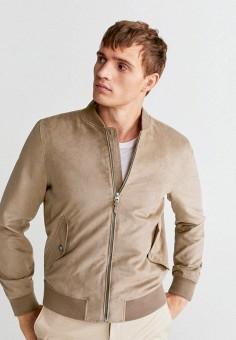 Куртка кожаная, Mango Man, цвет: бежевый. Артикул: HE002EMIWJP8. Одежда / Верхняя одежда / Кожаные куртки