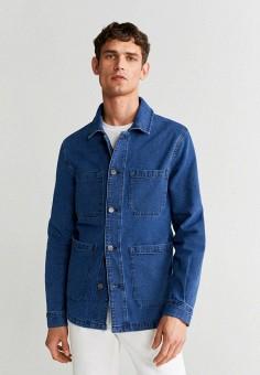 Куртка джинсовая, Mango Man, цвет: синий. Артикул: HE002EMJAMZ6. Одежда / Верхняя одежда / Джинсовые куртки