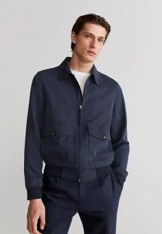 Куртка, Mango Man, цвет: синий. Артикул: HE002EMJGGD6.