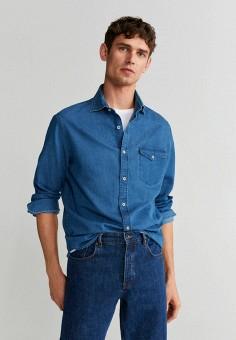 Рубашка джинсовая, Mango Man, цвет: синий. Артикул: HE002EMJGRW8. Одежда / Рубашки