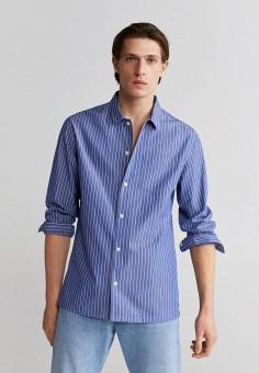 Рубашка, Mango Man, цвет: синий. Артикул: HE002EMJIYM6. Одежда / Рубашки / Рубашки с длинным рукавом