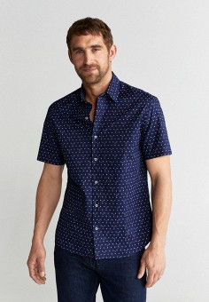 Рубашка, Mango Man, цвет: синий. Артикул: HE002EMJKOG0. Одежда / Рубашки