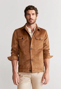 Куртка кожаная, Mango Man, цвет: коричневый. Артикул: HE002EMJKSN8. Одежда / Верхняя одежда / Кожаные куртки