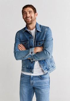 Куртка джинсовая, Mango Man, цвет: голубой. Артикул: HE002EMJNOQ3. Одежда / Верхняя одежда / Джинсовые куртки