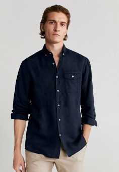 Рубашка, Mango Man, цвет: синий. Артикул: HE002EMJUNJ8. Одежда / Рубашки / Рубашки с длинным рукавом