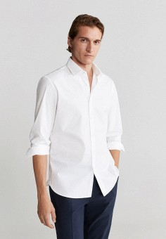 Рубашка, Mango Man, цвет: белый. Артикул: HE002EMJYRA6. Одежда / Рубашки / Рубашки с длинным рукавом