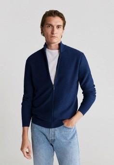 Кардиган, Mango Man, цвет: синий. Артикул: HE002EMJYRI2. Одежда / Джемперы, свитеры и кардиганы / Кардиганы