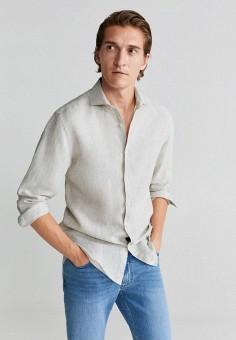 Рубашка, Mango Man, цвет: бежевый. Артикул: HE002EMKCIB3. Одежда / Рубашки / Рубашки с длинным рукавом