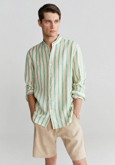 Рубашка, Mango Man, цвет: бежевый. Артикул: HE002EMKCIC4. Одежда / Рубашки / Рубашки с длинным рукавом