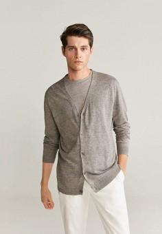 Кардиган, Mango Man, цвет: серый. Артикул: HE002EMKCVE6. Одежда / Джемперы, свитеры и кардиганы / Кардиганы