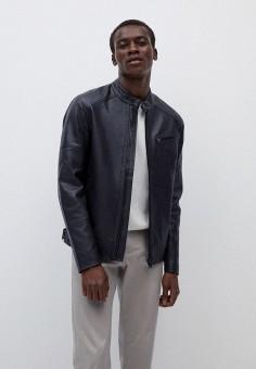 Куртка кожаная, Mango Man, цвет: синий. Артикул: HE002EMKEXJ1. Одежда / Верхняя одежда / Кожаные куртки