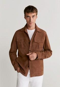 Куртка кожаная, Mango Man, цвет: коричневый. Артикул: HE002EMKEXR5. Одежда / Верхняя одежда / Кожаные куртки