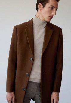 Пальто, Mango Man, цвет: коричневый. Артикул: HE002EMKIJD8. Одежда / Верхняя одежда / Пальто