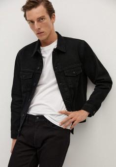 Куртка джинсовая, Mango Man, цвет: черный. Артикул: HE002EMKLHF8. Одежда / Верхняя одежда / Джинсовые куртки