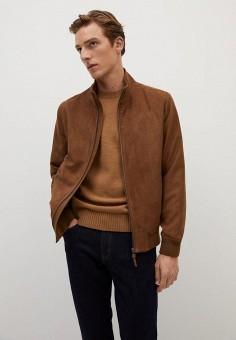 Куртка кожаная, Mango Man, цвет: коричневый. Артикул: HE002EMKMAM5. Одежда / Верхняя одежда / Кожаные куртки