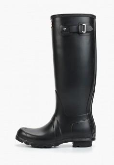 Резиновые сапоги, Hunter, цвет: черный. Артикул: HU028AWFVPF6. Обувь / Резиновая обувь