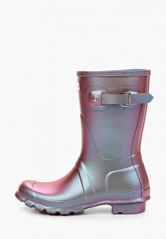 Резиновые полусапоги, Hunter, цвет: серебряный. Артикул: HU028AWIEAI5. Обувь / Резиновая обувь