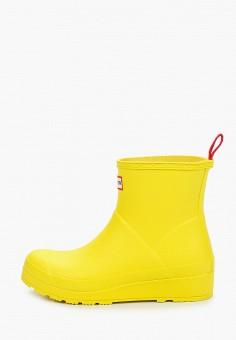 Резиновые полусапоги, Hunter, цвет: желтый. Артикул: HU028AWIEAJ9. Обувь / Резиновая обувь