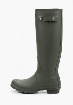 Резиновые сапоги, Hunter, цвет: хаки. Артикул: HU028AWJZXS3. Обувь / Резиновая обувь