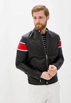 Куртка кожаная, Iceberg, цвет: черный. Артикул: IC461EMHPSE6. Одежда / Верхняя одежда