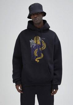 Худи, Pull&Bear, цвет: черный. Артикул: IX001XM009G0. Одежда / Толстовки и олимпийки