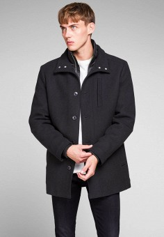 Пальто, Jack & Jones, цвет: черный. Артикул: JA391EMFKGK2. Одежда / Верхняя одежда / Пальто