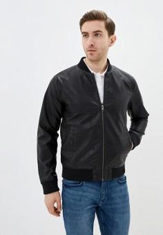 Куртка кожаная, Jack & Jones, цвет: черный. Артикул: JA391EMHSUU1. Одежда / Верхняя одежда / Кожаные куртки