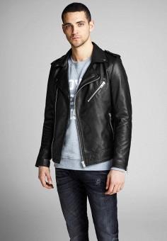 Куртка кожаная, Jack & Jones, цвет: черный. Артикул: JA391EMHSUX8. Одежда / Верхняя одежда