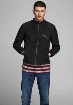 Куртка кожаная, Jack & Jones, цвет: черный. Артикул: JA391EMHSUX9. Одежда / Верхняя одежда / Кожаные куртки