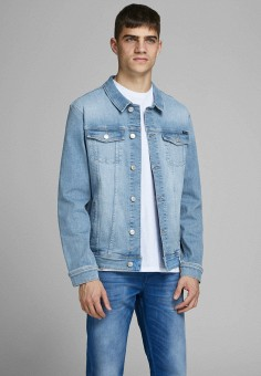 Куртка джинсовая, Jack & Jones, цвет: голубой. Артикул: JA391EMHSVP6. Одежда / Верхняя одежда / Джинсовые куртки