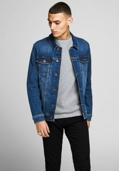 Куртка джинсовая, Jack & Jones, цвет: синий. Артикул: JA391EMHSVP7. Одежда / Верхняя одежда / Джинсовые куртки