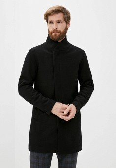Пальто, Jack & Jones, цвет: черный. Артикул: JA391EMJPBM2. Одежда / Верхняя одежда / Пальто