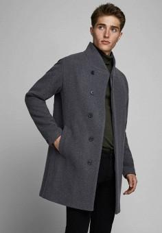 Пальто, Jack & Jones, цвет: серый. Артикул: JA391EMJPBM3. Одежда / Верхняя одежда / Пальто